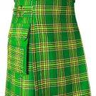Irish National Modern Utility Tartan Kilt for Active Men Scottish Deluxe Utility Kilt