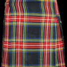 28 Size Modern Utility Kilt in Black Stewart Tartan Scottish Utility Tartan Kilt for Active Men