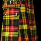 54 Size Scottish Utility Tartan Kilt in Buchanan Modern Highland Kilt for Active Men