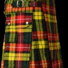 60 Size Scottish Utility Tartan Kilt in Buchanan Modern Highland Kilt for Active Men