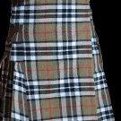 36 Size Scottish Utility Tartan Kilt in Camel Thompson Modern Highland Kilt for Active Men
