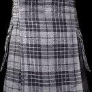 32 Size Scottish Utility Tartan Kilt in Gray Watch Modern Highland Kilt for Active Men