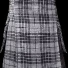 34 Size Scottish Utility Tartan Kilt in Gray Watch Modern Highland Kilt for Active Men