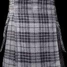 34 Size Scottish Utility Tartan Kilt in Gray Watch Modern Highland Kilt for Active Men