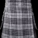 36 Size Scottish Utility Tartan Kilt in Gray Watch Modern Highland Kilt for Active Men