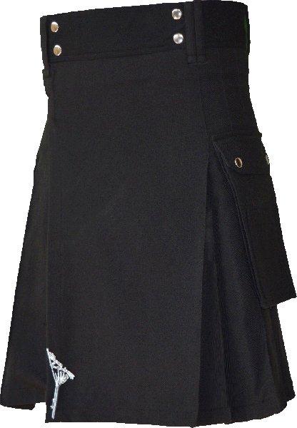 60 Size Plain Black Highlander Utility Tartan Kilt for Active Men Scottish Deluxe Utility Kilt