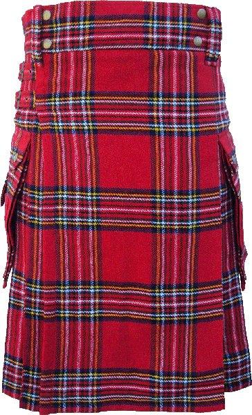 52 Size Royal Stewart Highlander Utility Tartan Kilt for Active Men Scottish Deluxe Utility Kilt