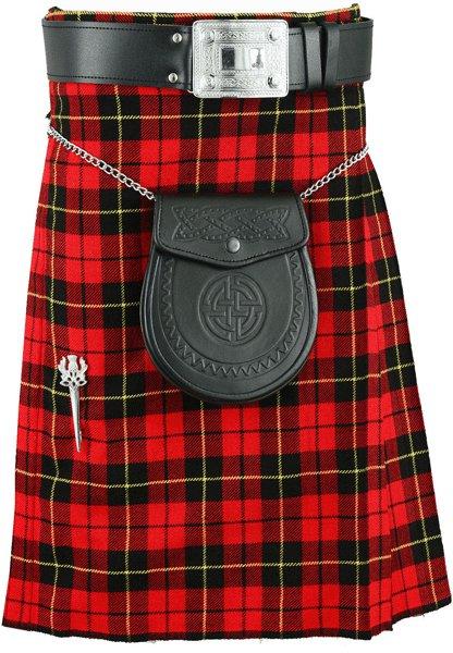 Kilt in Wallace Tartan for Men 28 size Traditional Scottish Highlanders 5 Yard 10 oz.