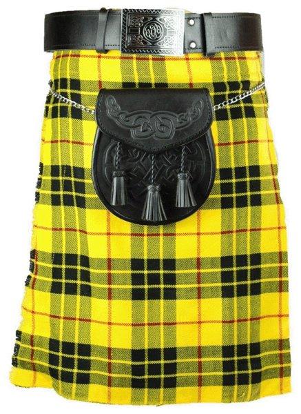 Scotish Tartan Kilt 32 Size McLeod of Lewis Scottish Highland 5 Yard 10 oz. Kilt for Men