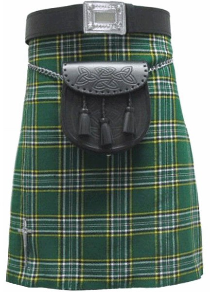 Highland Kilt for Men Irish Tartan Kilt 46 Size Irish National 5 Yard 10 oz. Scottish Kilt