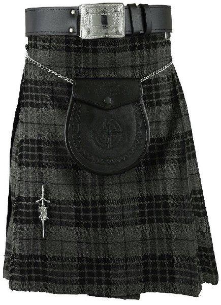 kilt Traditional Pleated to Set Kilt 30 Size Scottish Granite Gray Watch Tartan 5 Yard 10 Oz. Kilt