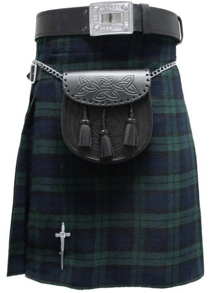 Kilt for Men Scottish Tartan Kilt 60 Size Black Watch Scottish Highland 5 Yard 10 oz.Kilt
