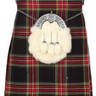 Kilt for Men Scottish Tartan Kilt 46 Size Black Stewart Highland 5 Yard 10 oz. Kilt