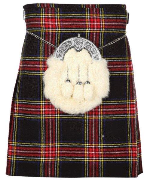 Kilt for Men Scottish Tartan Kilt 48 Size Black Stewart Highland 5 Yard 10 oz. Kilt