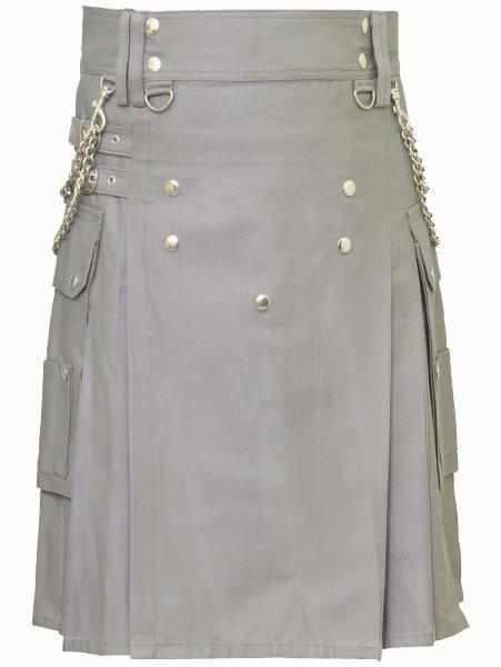 Fashion Kilt Front Button Kilt Grey Utility Kilt 50 Size Cotton Kilt with Chrome Chains