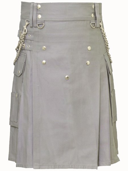 Fashion Kilt Front Button Kilt Grey Utility Kilt 56 Size Cotton Kilt with Chrome Chains