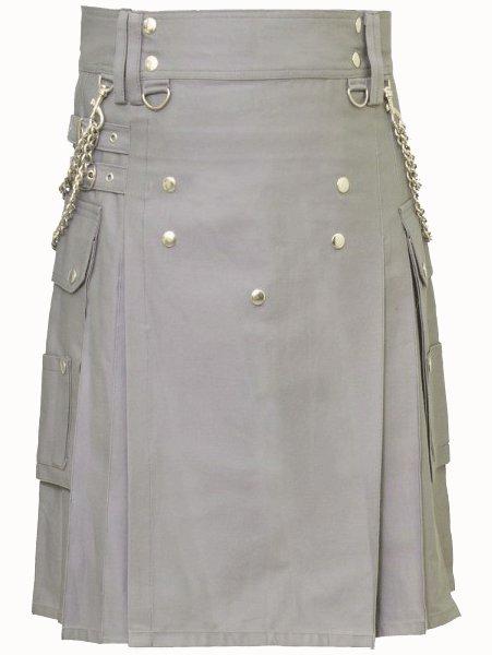 Fashion Kilt Front Button Kilt Grey Utility Kilt 58 Size Cotton Kilt with Chrome Chains