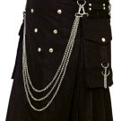 Fashion Kilt Gothic Utility Kilt 46 Size Black Cotton Kilt with Cargo Pockets & Silver Chains