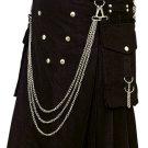 Fashion Kilt Gothic Utility Kilt 48 Size Black Cotton Kilt with Cargo Pockets & Silver Chains