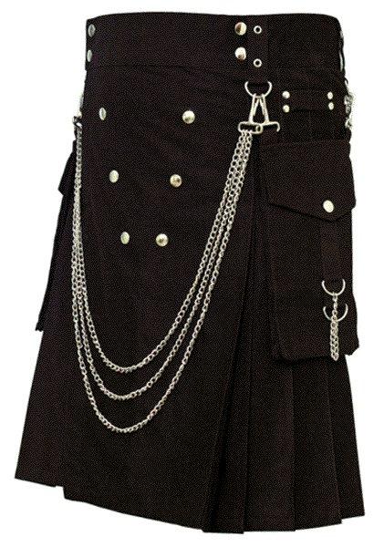 Fashion Kilt Gothic Utility Kilt 50 Size Black Cotton Kilt with Cargo Pockets & Silver Chains