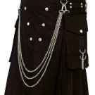 Fashion Kilt Gothic Utility Kilt 52 Size Black Cotton Kilt with Cargo Pockets & Silver Chains