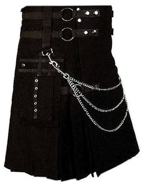 Modern Kilt Gothic Utility Kilt 26 Size Black Cotton Kilt with Cargo Pockets & Silver Chains