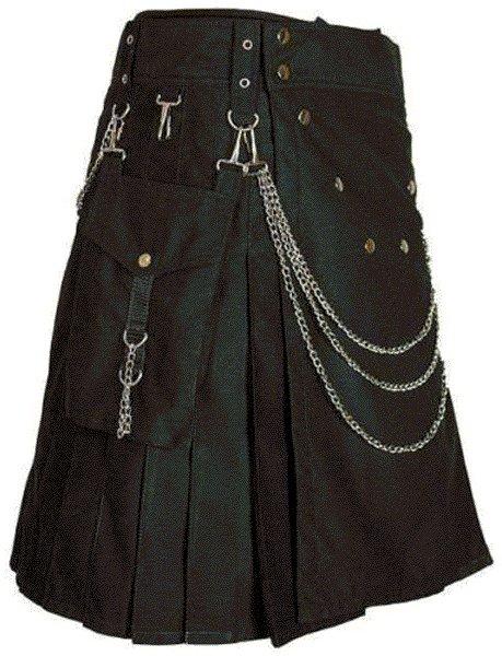 Modern Kilt Gothic Utility Kilt 32 Size Black Cotton Kilt with Cargo Pockets & Silver Chains
