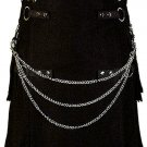 34 Size Modern Kilt Black Utility Kilt Cotton Kilt with Cargo Pockets & Chains for Stylish Men