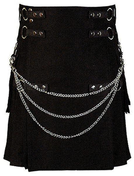 44 Size Modern Kilt Black Utility Kilt Cotton Kilt with Cargo Pockets & Chains for Stylish Men