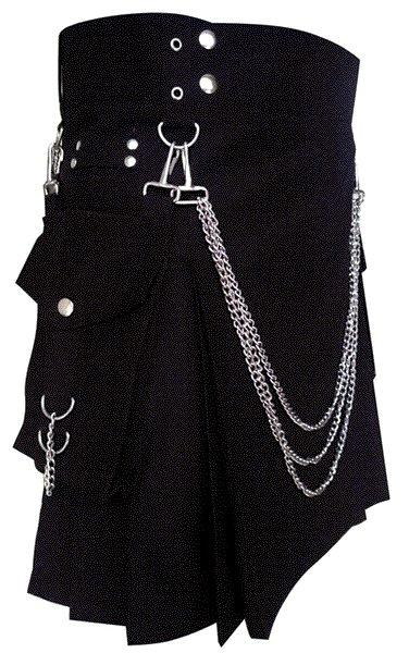48 Size Modern Kilt Cotton Kilt Black Utility Kilt with Cargo Pockets & Chains for Stylish Men
