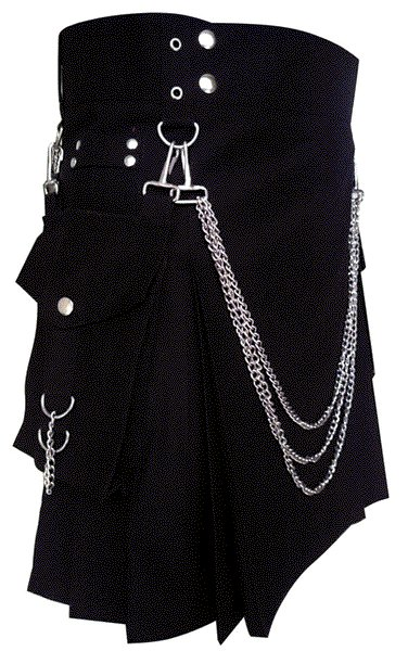56 Size Modern Kilt Cotton Kilt Black Utility Kilt with Cargo Pockets & Chains for Stylish Men