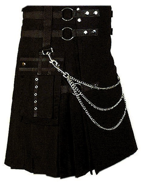 Professional Scottish Kilt 32 Size 100% Cotton Stylish Black Kilt for Men with Beautiful Chains