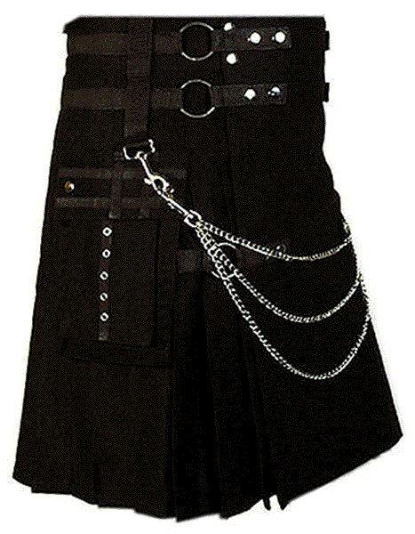 Professional Scottish Kilt 34 Size 100% Cotton Stylish Black Kilt for Men with Beautiful Chains