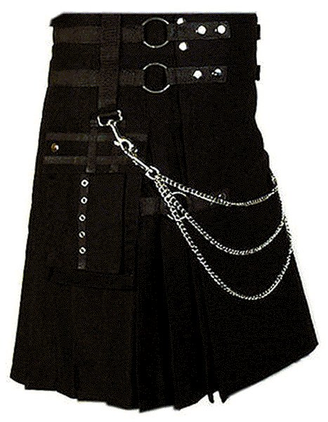 Professional Scottish Kilt 46 Size 100% Cotton Stylish Black Kilt for Men with Beautiful Chains
