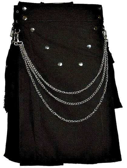 Stylish Men Black Utility Cotton Kilt of Size 28 with Chrome Chains and Buttons on Front in V Shape