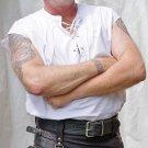 Medium Size Scottish White Cotton Sleeveless Jacobite Ghillie Jacobean Kilt Shirt for men