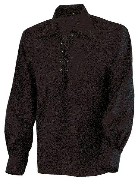 4XL Size Jacobite Ghillie Kilt Shirt Black Cotton Jacobean Shirt with Leather Cord for Men