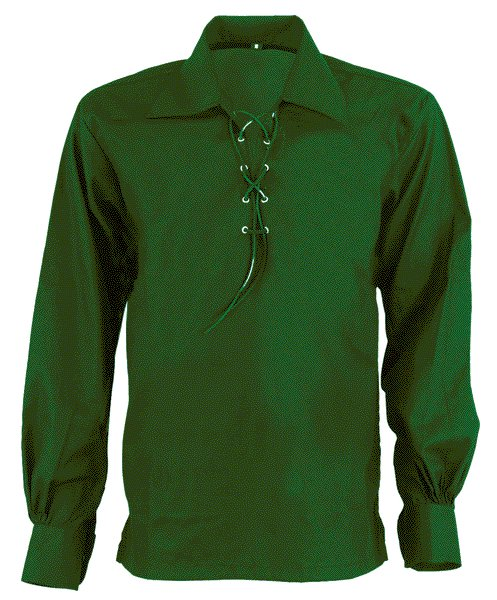 4XL Size Jacobite Ghillie Kilt Shirt Green Cotton Jacobean Shirt with Leather Cord for Men