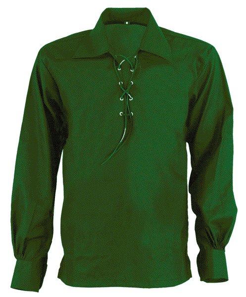 5XL Size Jacobite Ghillie Kilt Shirt Green Cotton Jacobean Shirt with Leather Cord for Men