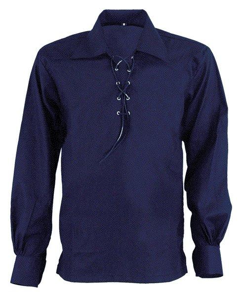3XL Size Jacobite Ghillie Kilt Shirt Navy Blue Cotton Jacobean Shirt with Leather Cord for Men