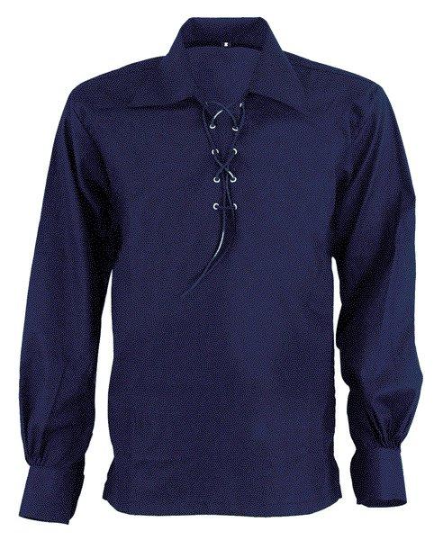 4XL Size Jacobite Ghillie Kilt Shirt Navy Blue Cotton Jacobean Shirt with Leather Cord for Men