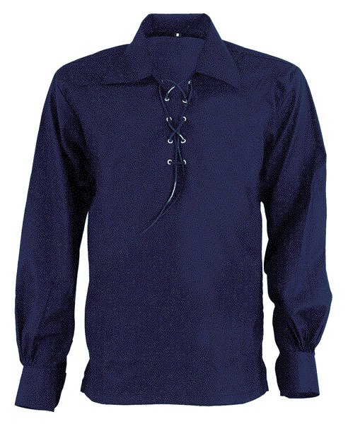 5XL Size Jacobite Ghillie Kilt Shirt Navy Blue Cotton Jacobean Shirt with Leather Cord for Men