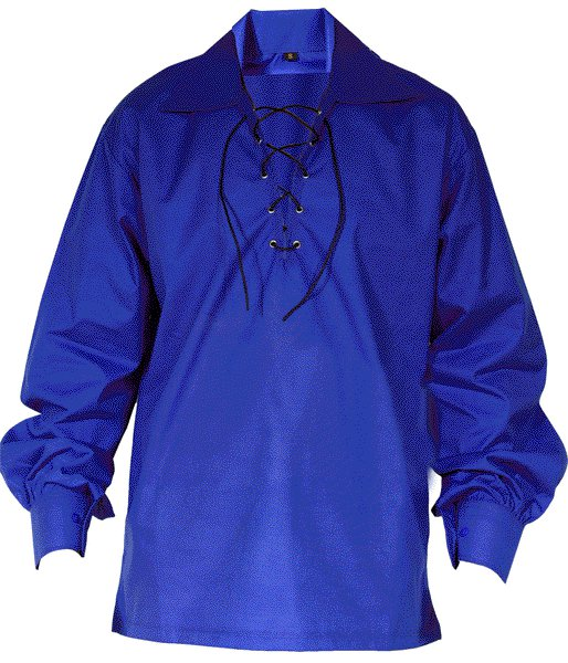 4XL Size Jacobite Ghillie Kilt Shirt Royal Blue Cotton Jacobean Shirt with Leather Cord for Men
