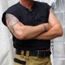 XL Size Mens Jacobite Ghillie Kilt Shirt Black Cotton Sleeveless Shirt with Leather Cord
