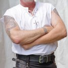 2XL Size Mens Jacobite Ghillie Kilt Shirt White Cotton Sleeveless Shirt with Leather Cord