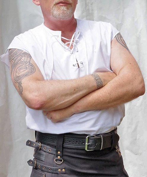 5XL Size Mens Jacobite Ghillie Kilt Shirt White Cotton Sleeveless Shirt with Leather Cord