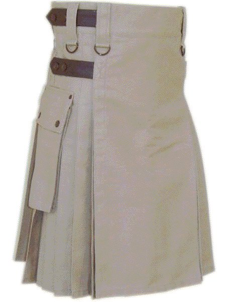 Utility Khaki Cotton Kilt 42 Waist Size Fashion Kilt for Men with Leather Straps Cargo Pockets