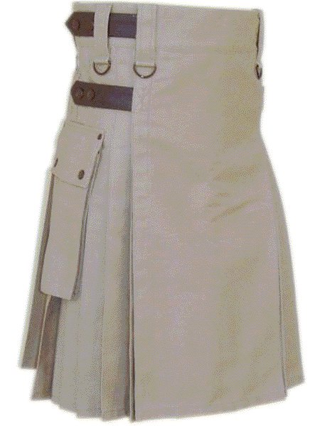 Utility Khaki Cotton Kilt 50 Waist Size Fashion Kilt for Men with Leather Straps Cargo Pockets