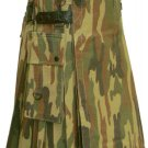 Utility Army Camo Cotton Kilt 28 Waist Size Fashion Kilt for Men with Leather Straps Cargo Pockets