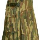 Utility Army Camo Cotton Kilt 36 Waist Size Fashion Kilt for Men with Leather Straps Cargo Pockets